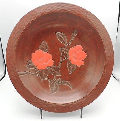 Carved Kamakura-Bori Round Tray Lacquer Ware Red Flowers Signed Japan