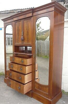 Edwardian Breakfront Triple Combination Wardrobe With Key Edwardian (1901-1910)