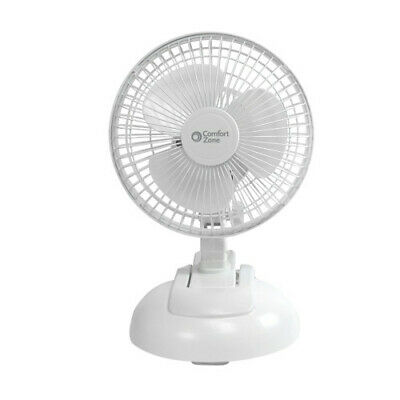 """Comfort Zone CZ6XMWT 2-Speed 6"""" Clip Fan with Base"""