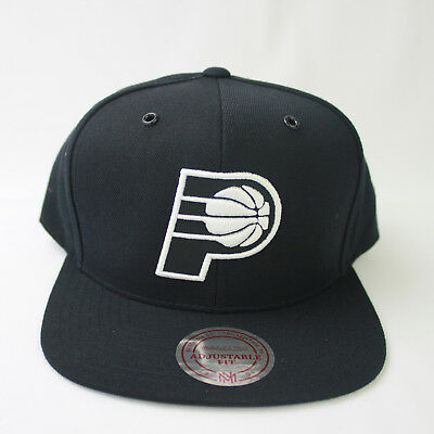 finest selection b8e74 be478 Indiana Pacers Mitchell Ness NBA Current Black White Snapback Cap