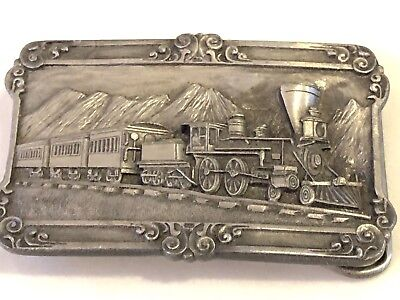 Vintage Train Railroad SISKIYOU Pewter Belt Buckle A-29 Williams Oregon 1984