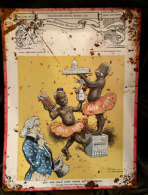 ~ LET THE GOLD DUST TWINS DO YOUR WORK ~ Antique Embossed Enameled Metal Sign