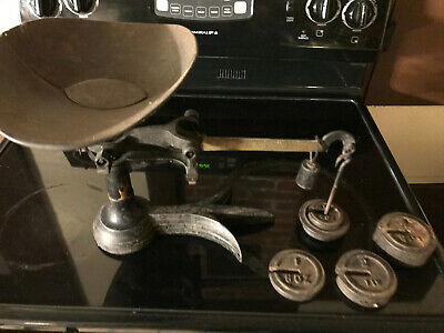 Vintage Large Cast Iron Slide/Weight Counter Style 5 lb. Scale w/ weights