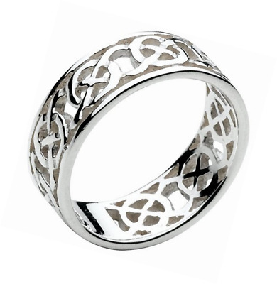 Heritage Sterling Silver Celtic Open Knotwork Edged Band - Size - X