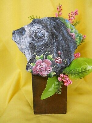 Japanese Chin Dog Painted Rock Collectable Art
