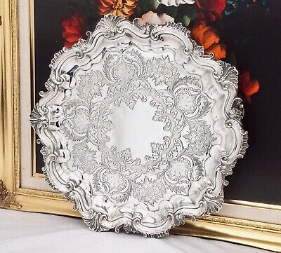 Stunning Antique Repousse Silver Plated Footed Salver Tray BARKER BROTHERS c1895