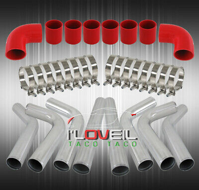"""Universal 3"""" 8 Pcs 76mm Polished Aluminum Intercooler Pipe Kit Red Couplers"""