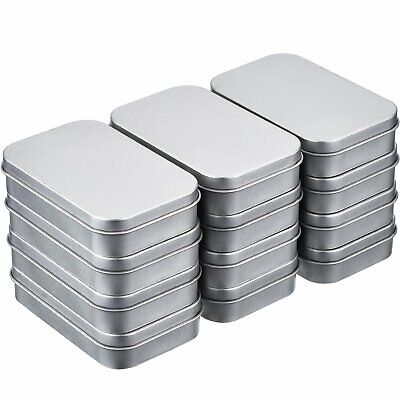 Shappy 12 Pack 3.75 by 2.45 by 0.8 Inch Silver Metal Rectangular Empty Hinged...