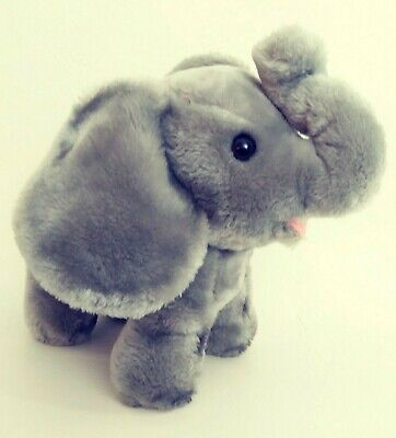 "Dakin 14"" Plush Elephant Gray Standing Large Ears Trumpeting 1978 Vintage 70s"