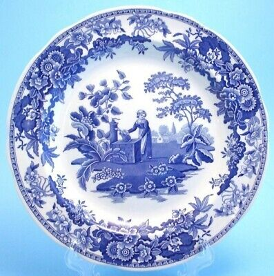 Spode Blue Room Collection Girl at Well Blue & White Porcelain Plate