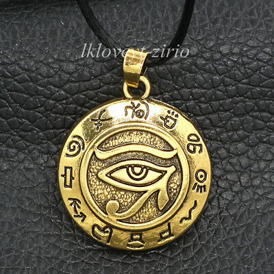 Egyptian Gold Eye of Horus Ra Udjat Amulet Pendant Choker Chain Necklace