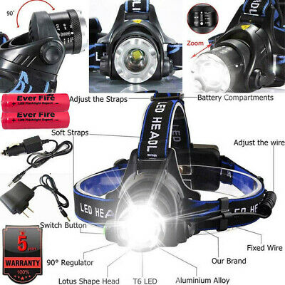 Zoomable 90000LM Rechargeable T6 LED Headlamp + 18650 Headlight Flashlight Torch
