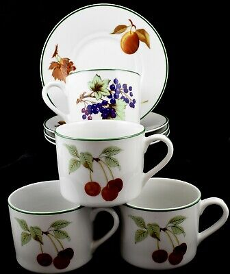 Lovely Set of Four (4) Royal Worcester Evesham Vale Flat Cups & Saucers
