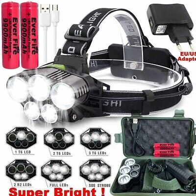 Tactical 100000LM T6 LED Headlamp Headlight Torch Rechargeable Flashlight &18650