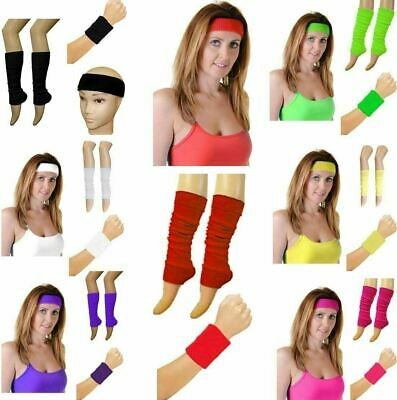 Womens Neon Headband Wristbands And Legwarmers 1980s Fancy Party Dress Accessory