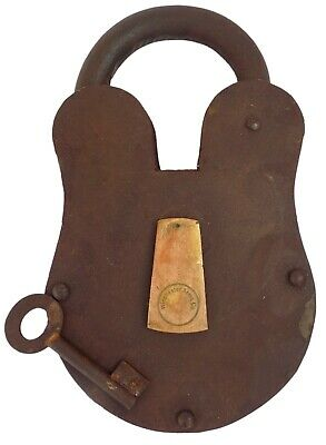 Old Vintage Antique Style Padlock Key Lock and Key Crafts Winchester Arms Co.