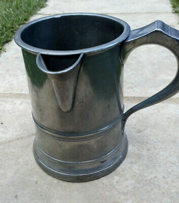 FINE Victorian PEWTER QUART Side Spout TANKARD Mug THE WHITE HORSE,  CHICHESTER