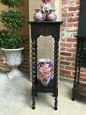 Antique English Oak BARLEY TWIST SQUARE PLANT STAND Display Jacobean Table