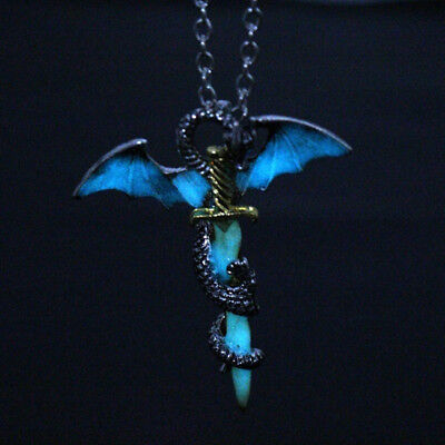 Glow In The Dark Dragon and Sword Luminous Pendant Chain Necklace DB
