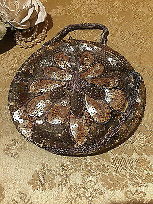 Antique Gold Beaded Sequence Evening Clutch Beautiful Design Made In Belgium