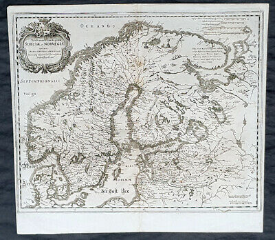1653 Matthaus Merian Antique Map of Scandinavia Norway, Sweden, Denmark, Finland