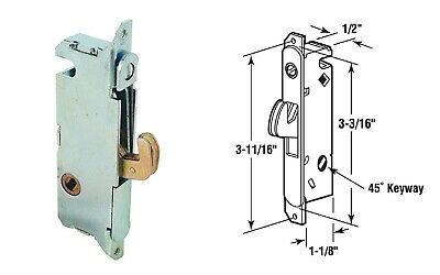 Sliding Patio Glass Door Latch Mortise Lock Round End Faceplate 45 Degree Keyway