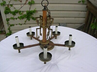 5 Arm Metal And Wood Chandelier