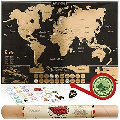 Gold Scratch Off World Map Poster - with US States & Canadian Provinces. A