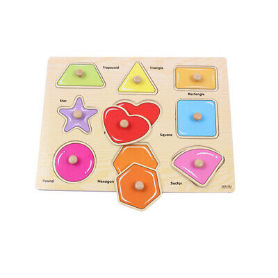 Colorful Children's Wooden Puzzle Educational Shape Hand Grab Toy Kids Gifts OE