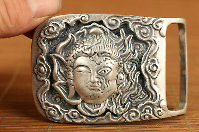 unique s925 silver carved buddha and hell statue buckle collectable