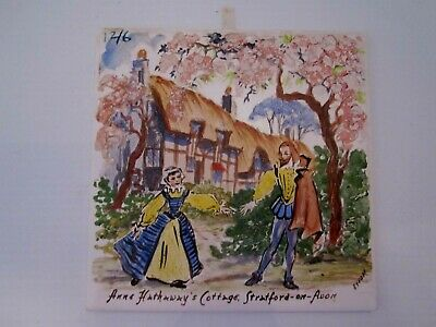 "Anne Hathaway's Cottage. Vintage hand painted tile trivet. Signed. 6"" square"