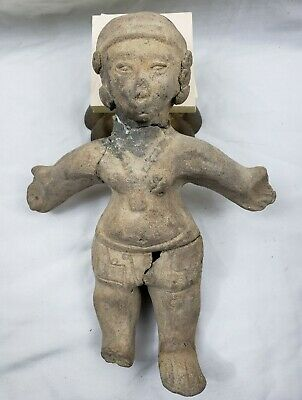 Very Nice Large Pre-Columbian Clay Effigy Woman 10 inches tall