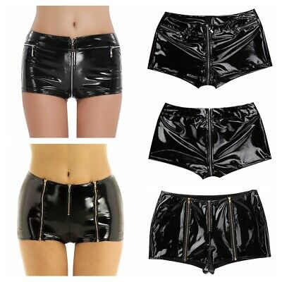 Womens Wet Look Patent Leather Stretch Tights Shorts Hot Pants Clubwear Costume