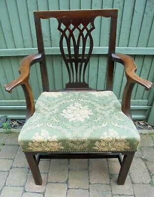Vintage George III Open Upholstered Arm Chair Chippendale Style