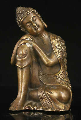 China Hand-carved Exquisite Antique Bronze Sitting Buddha Statue Ornaments