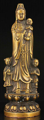 China Hand-carved Brass Statue Kwan-yin Sending A Child Statue Ornament