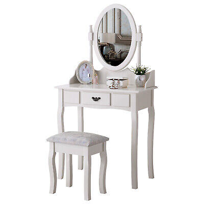 Oval Mirror Makeup Dressing Table Desk with 1 Drawer & Stool Set Bedroom White
