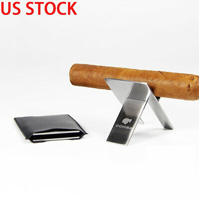 Cohiba 1pcs Stainless Steel Mini Foldable Cigarette Cigar Rack Stand Holder