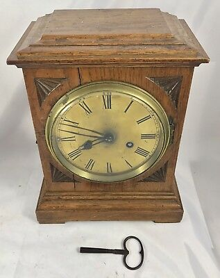 Antique Oak & Brass Dial 8 Day WM Pyke & Son Bracket Mantel Clock