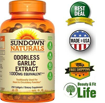 ODORLESS GARLIC EXTRACT 1000 mg 250 Softgel Capsules Better Circulation Function