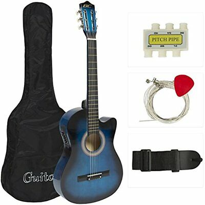 38in Beginners Acoustic Electric Cutaway Guitar W/ Case, Extra Strings, Strap,