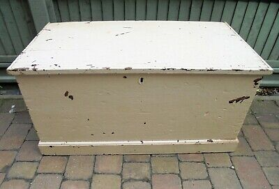 Victorian Large Painted Bedding Box with Secret Drawers and candle box