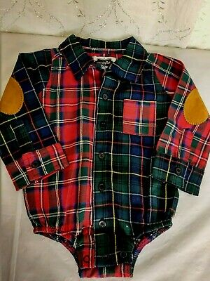 NWOT Mudpie Infant 6-9 Months Mulit Colored Plaid Button L/S One Piece