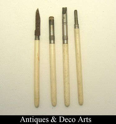 4 Victorian or Edwardian Writing Tools with Bone Handles