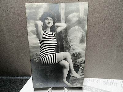 1910 French RPPC Photo Postcard Young Brunette In A Red Striped Swimsuit