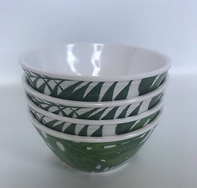 New Tommy Bahama Melamine Green Tropical Palm Leaf Salad Bowls 4 Piece Set