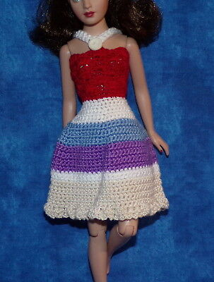 VTG Barbie Casey Francie Tiny Kitty Collier Blue Lilac Red White Knit Dress