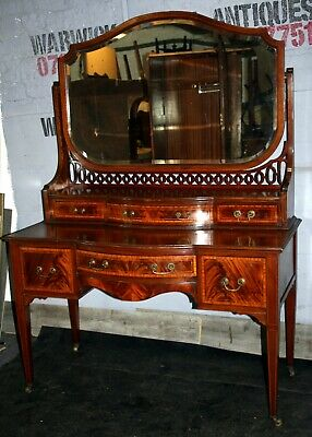 Excellent Maple and Co inlaid Edwardian satin mahogany dressing table 1910