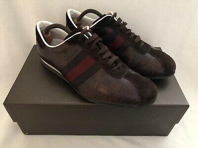 1eabc0b40c0 Gucci Leather Ace Signature Monogram Trainers Sneakers