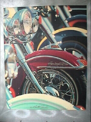 Scott Jacobs Ducks in Row Harley Davidson Heritage Softail Lithograph Metal Art